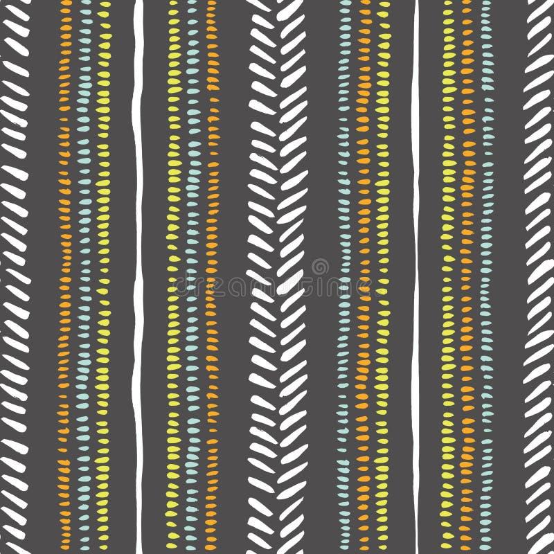 Hand getrokken stammenstrepen, steken op donker grijs vector naadloos patroon als achtergrond Verse abstracte geometrische tekeni royalty-vrije illustratie