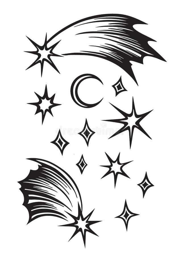 Hand getrokken sterren en schets van het maan de vastgestelde overzicht Vector zwarte die inkttekening op witte achtergrond wordt stock illustratie