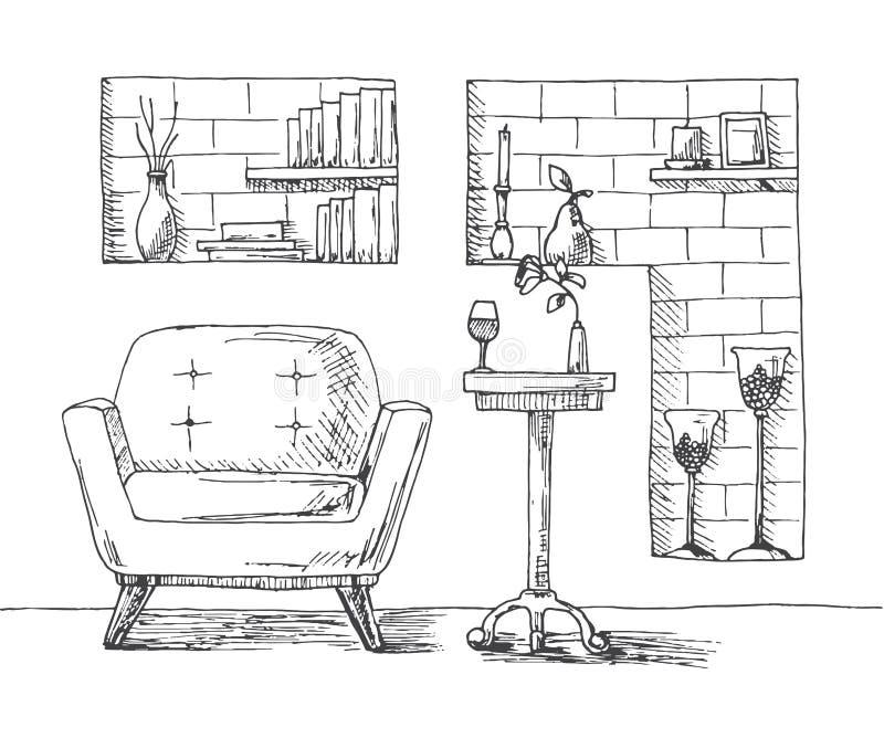 Hand getrokken stoel, bureau, gebied in de muur met planken Op de lijst is een glas en een vaas met een bloem Op de planken van b vector illustratie