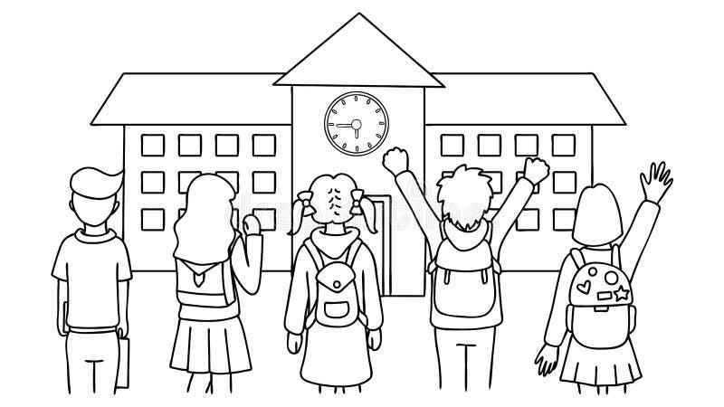 Hand getrokken studenten die zich voor schoolhuis bevinden, terug naar school, voor ontwerpelement en kleurende boekpagina voor j royalty-vrije illustratie