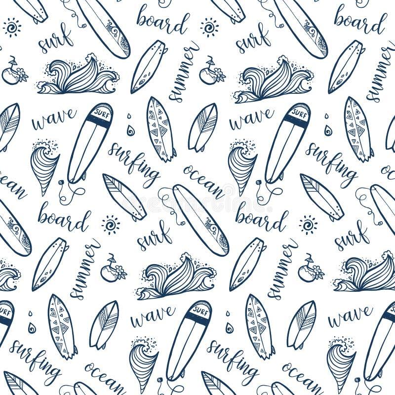 Hand getrokken surfende raad, golven en van letters voorziend vector naadloos patroon royalty-vrije illustratie