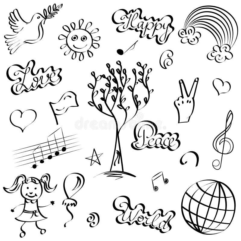 Hand Getrokken Symbolen van Vrede Krabbeltekeningen van Duif, Boom, Harten, Zon, Regenboog stock illustratie