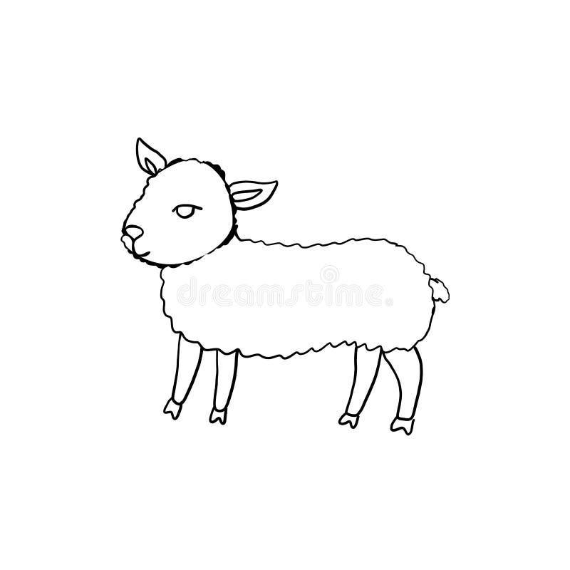 Hand getrokken symbool van Gelukkige Pasen, de vectordieillustratie van de inktschets op wit wordt geïsoleerd, Leuk weinig kunst  royalty-vrije illustratie