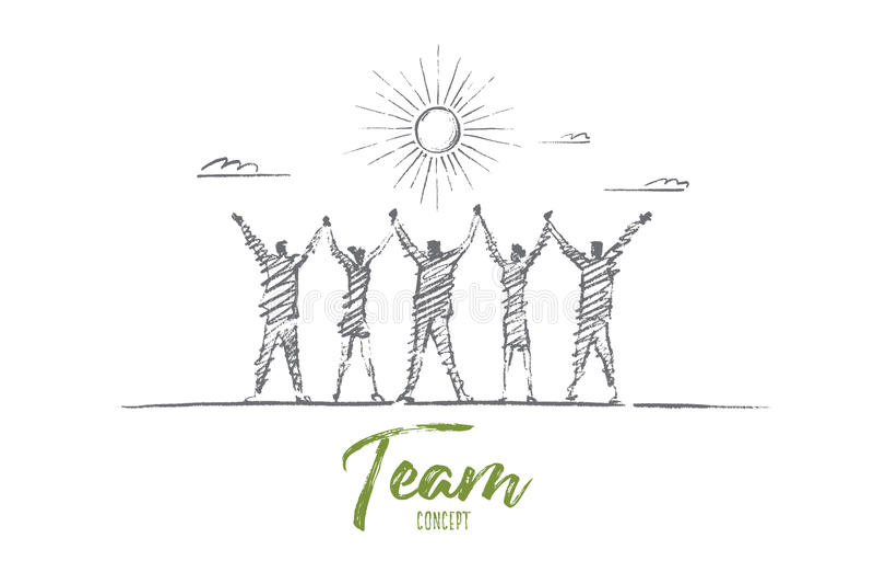 Hand getrokken teamconcept met het van letters voorzien vector illustratie