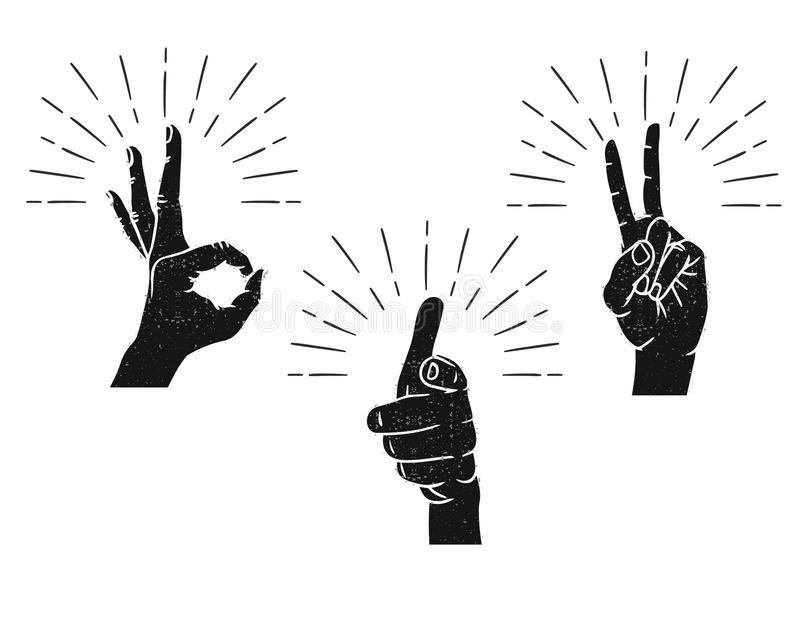 Hand getrokken teken voor mededeling van de vingers stock illustratie