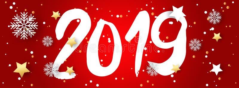 Hand getrokken tekens die 2019 voor Gelukkig Nieuwjaar van letters voorzien stock afbeelding