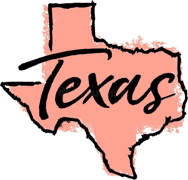 Hand Getrokken Texas State Sketch royalty-vrije illustratie