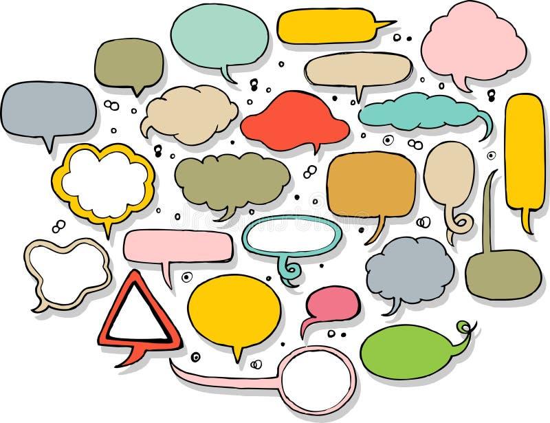 Hand getrokken toespraakbel in kleuren stock illustratie