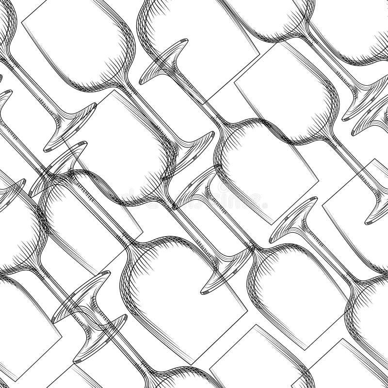 Hand getrokken transparant glaswerk naadloos patroon Lege champagne en wijnglasachtergrond royalty-vrije illustratie