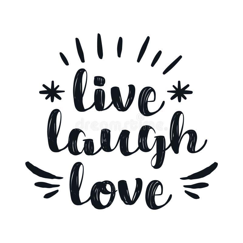 Hand getrokken typografieaffiche Inspirational liefde ` van de citaat` levende lach r royalty-vrije illustratie