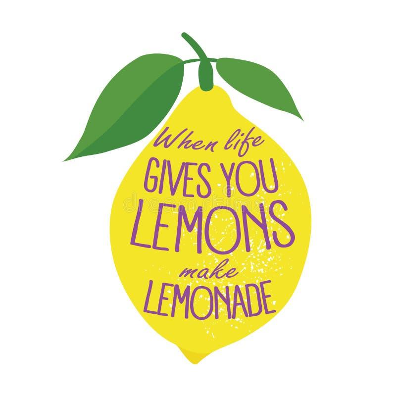 Hand getrokken typografieaffiche Llemon op witte achtergrond vector illustratie