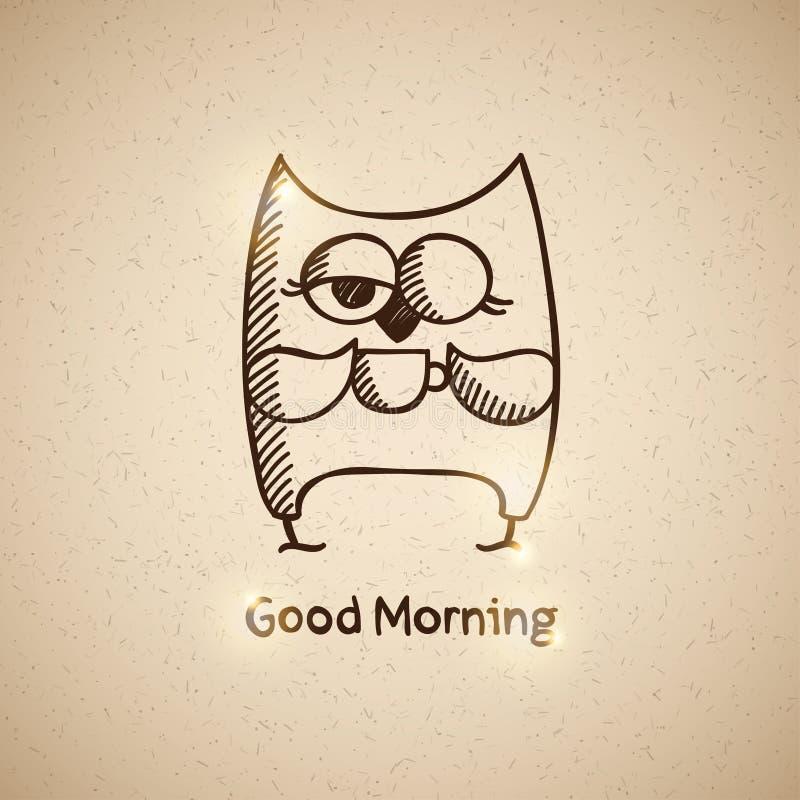Uil en kop van koffie, vectoreps 10 royalty-vrije illustratie