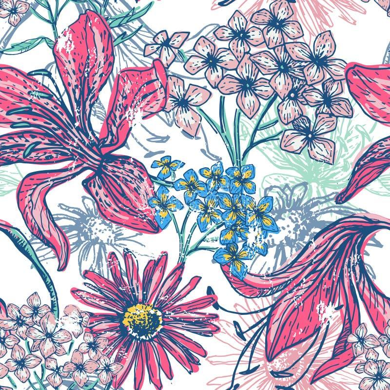 Hand getrokken uitstekend bloemen naadloos patroon stock illustratie