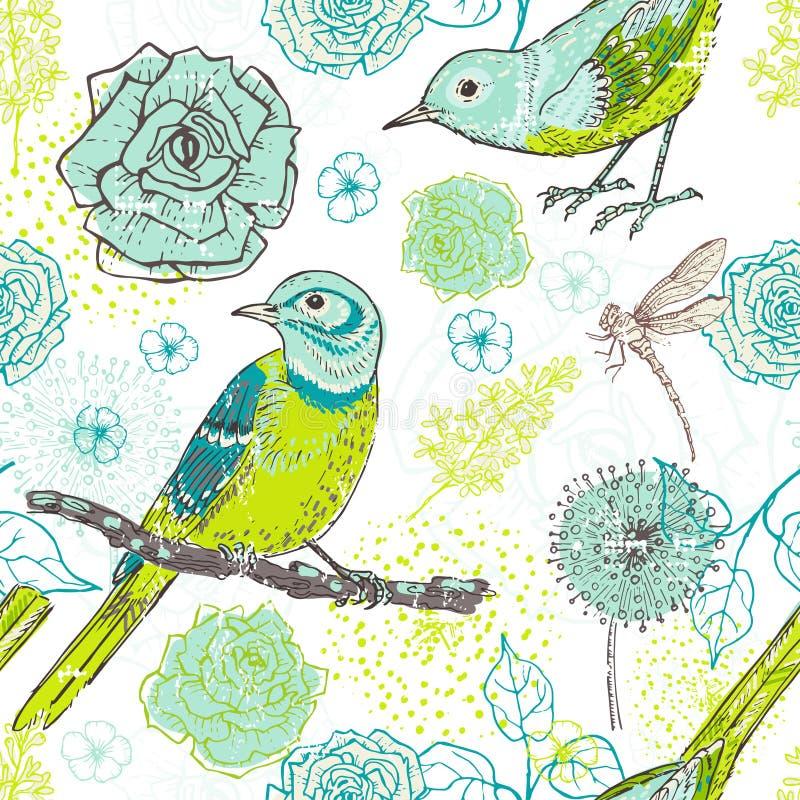 Hand getrokken uitstekend bloemen naadloos patroon met vogels in motton vector illustratie