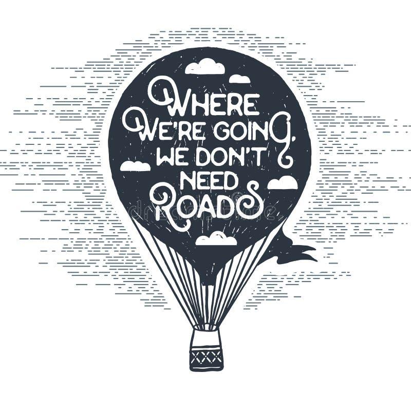 Hand getrokken uitstekend etiket met de vectorillustratie van de hete luchtballon stock illustratie