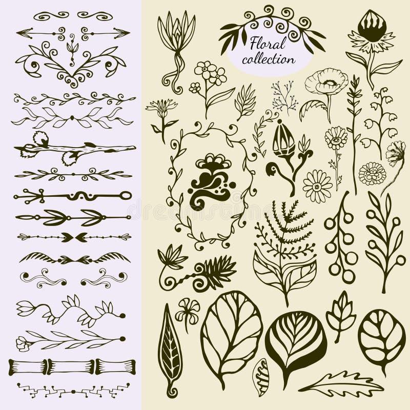 Hand getrokken uitstekende bloemenelementen Grote reeks wilde bloemen, bladeren, wervelingen, grens Decoratieve krabbelelementen stock illustratie