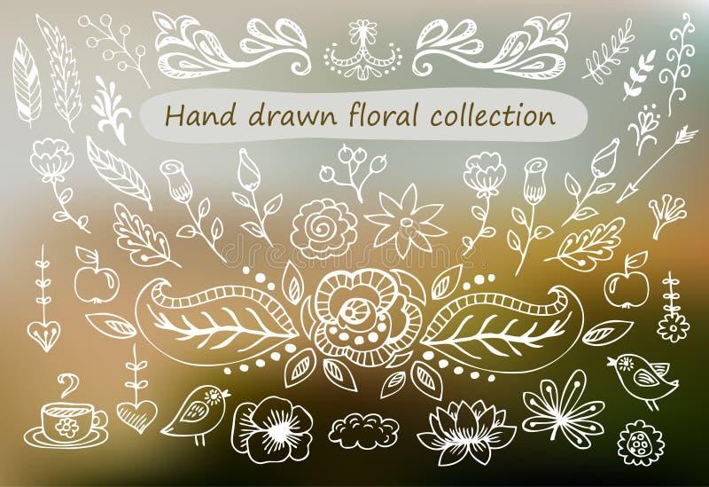 Hand getrokken uitstekende bloemenelementen Reeks bloemen, pijlen, pictogrammen en decoratieve elementen stock illustratie