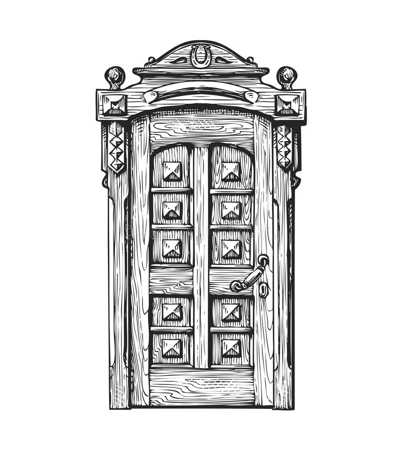 Hand getrokken uitstekende deur Schets vectorillustratie royalty-vrije illustratie
