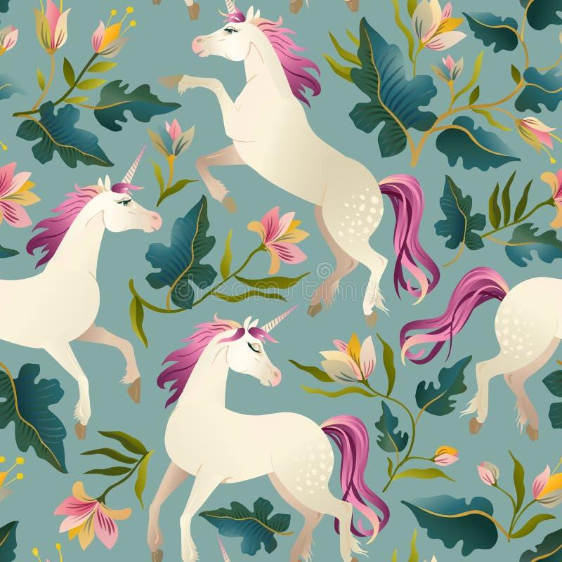 Hand getrokken uitstekende Eenhoorn in magisch bos naadloos patroon Vector illustratie royalty-vrije illustratie
