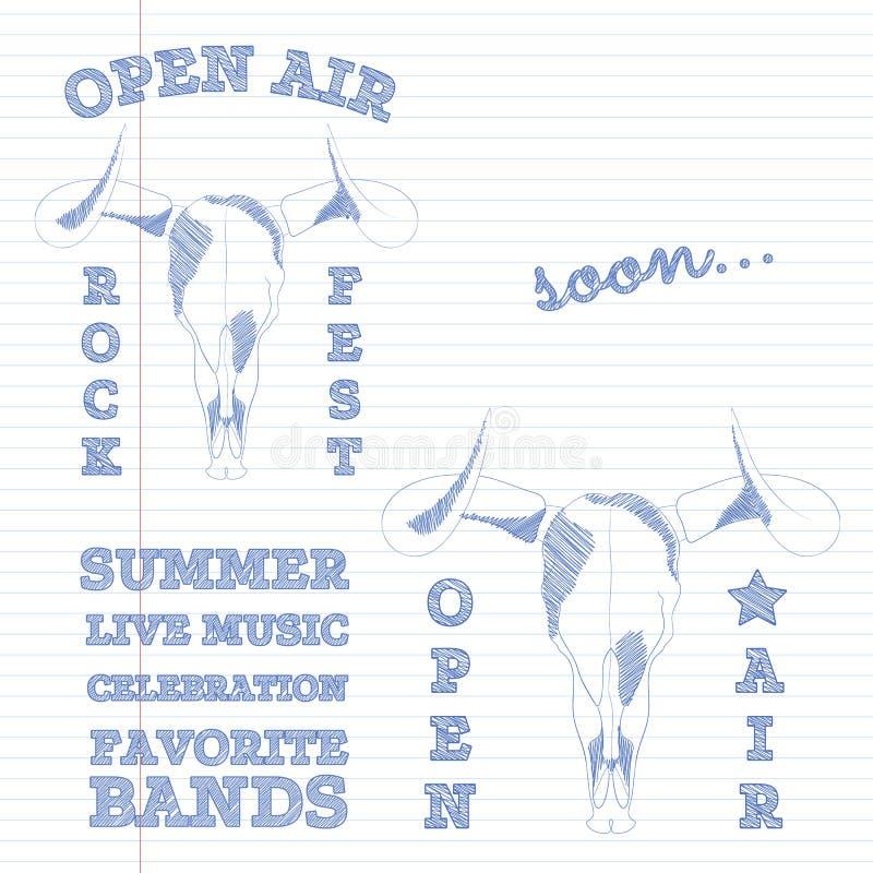 Hand getrokken uitstekende embleeminzameling Ontwerpelementen voor kaarten, affiches, drukken Van het stierenschedel en festival  stock illustratie