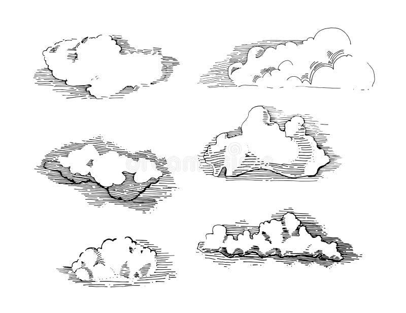 Hand getrokken uitstekende gegraveerde wolken vectorreeks gedetailleerde inktillustratie Hemel, hemel, wolkenschets, retro stijl royalty-vrije illustratie