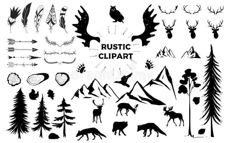 Hand getrokken uitstekende geweitakken, veren, pijlen decoratieve vectorontwerpset Rustiek dier Het ontwerpelement van het Hipste stock illustratie