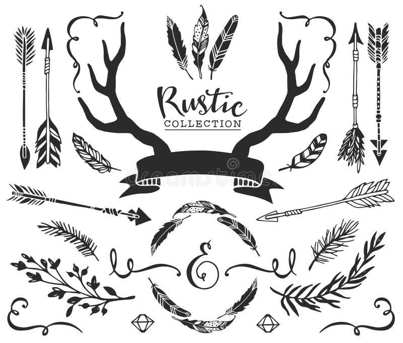 Hand getrokken uitstekende geweitakken, veren, pijlen met het van letters voorzien Rus stock illustratie