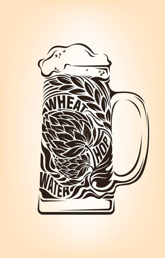 Hand getrokken uitstekende grafisch met bier mok en het van letters voorzien Vectortypografieillustratie voor t-shirt of zakdruk stock illustratie