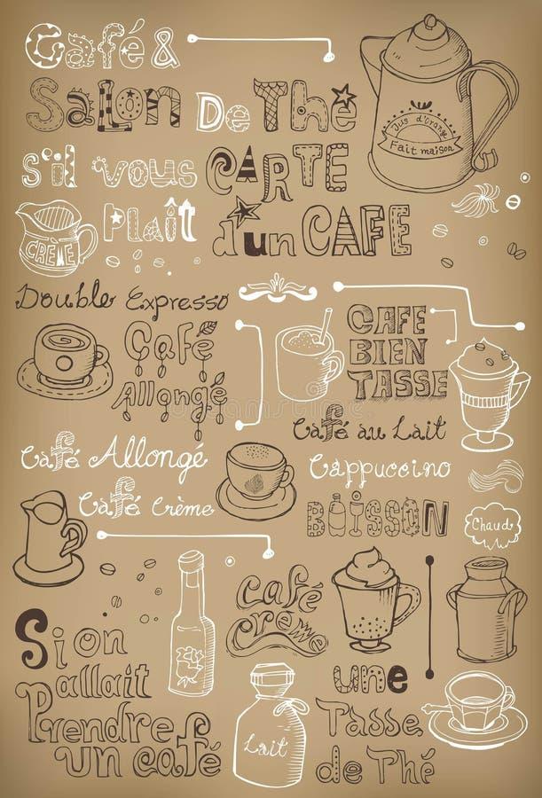 Hand getrokken uitstekende koffie in het Frans royalty-vrije illustratie