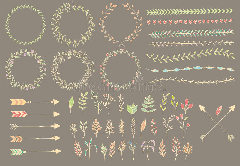 Hand getrokken uitstekende pijlen, veren, verdelers en bloemenelementen vector illustratie