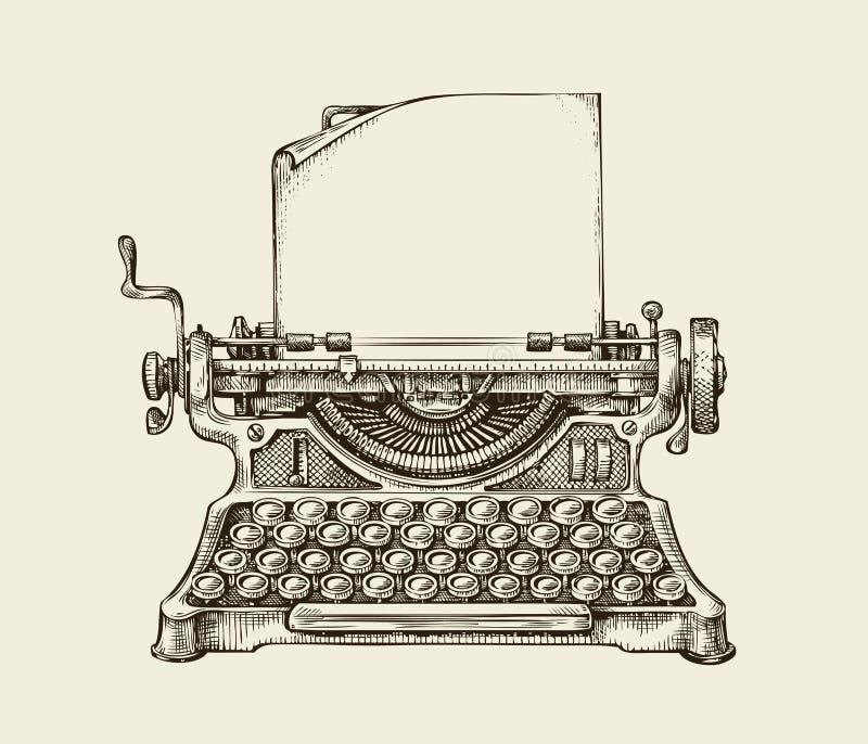 Hand getrokken uitstekende schrijfmachine Schets het publiceren Vector illustratie stock illustratie