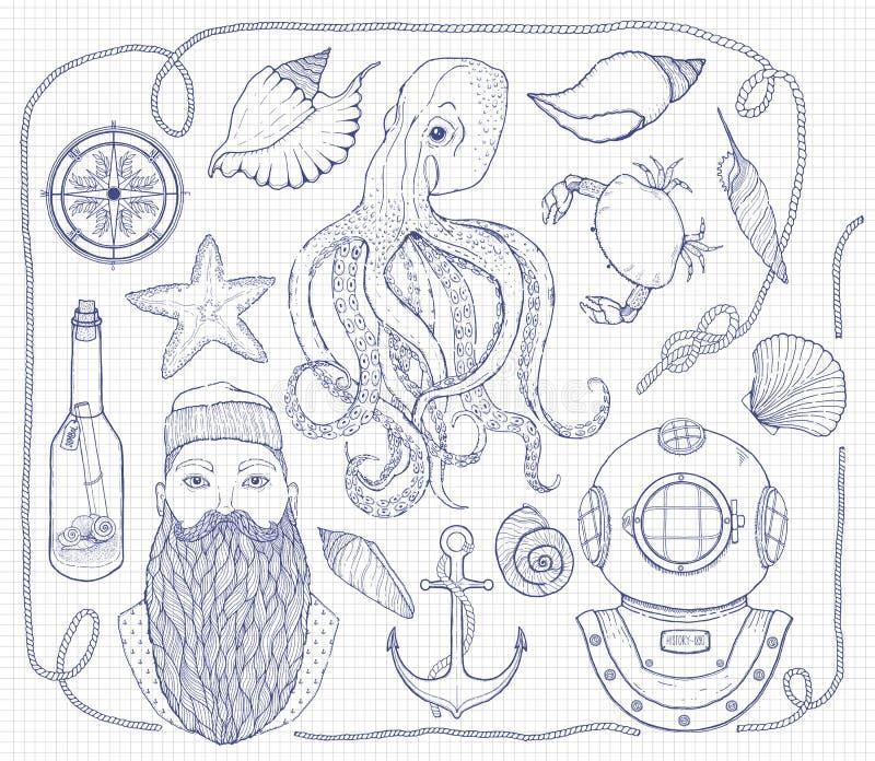Hand getrokken Uitstekende zeevaartreeks Het bestaat uit octopus, anker, zeeman, fles met een bericht, zeeschelpen, krab, kompas, royalty-vrije illustratie