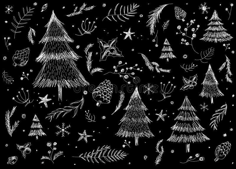 Hand getrokken van het Kerstmispatroon ontwerp als achtergrond op zwarte achtergrond royalty-vrije illustratie