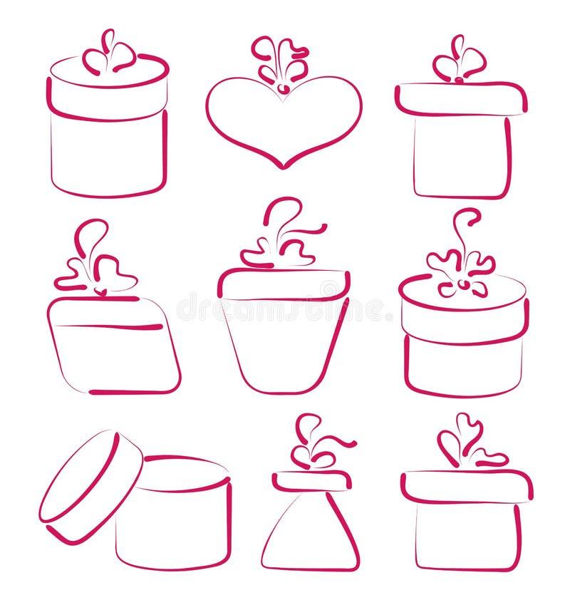 Hand getrokken vastgestelde giftdozen voor uw verjaardag royalty-vrije illustratie