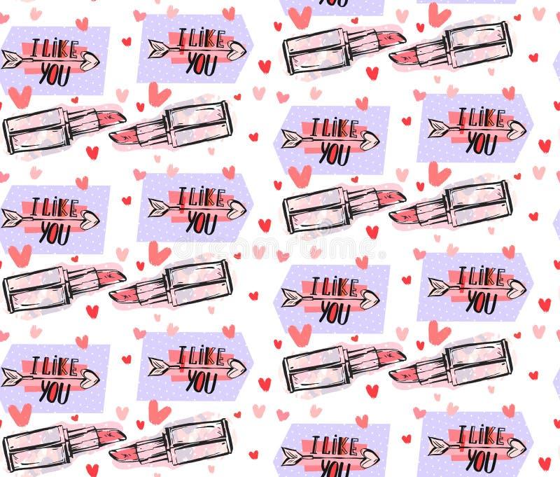Hand getrokken vector abstract grafisch manier naadloos patroon met pop-art grappige lippenstift, pijlen, harten en modern vector illustratie