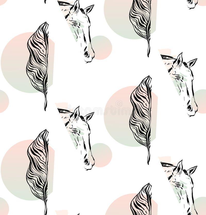 Hand getrokken vector abstract grafisch naadloos patroon met paardhoofd en tropisch exotisch palmblad op wit royalty-vrije illustratie