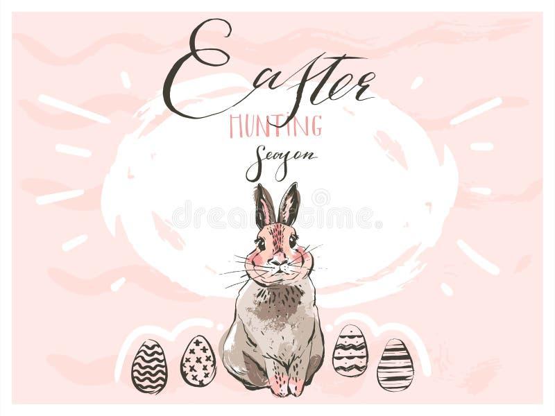 Hand getrokken vector abstract grafisch Skandinavisch Gelukkig leuk eenvoudig het konijntjessilhouet van Pasen, eiillustraties he vector illustratie