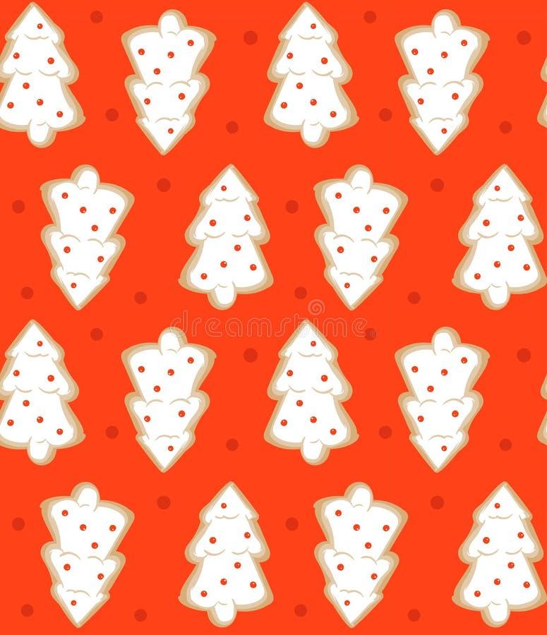 Hand getrokken vector abstract van het de tijdbeeldverhaal van pret Vrolijk Kerstmis de illustratie naadloos patroon met gebakken royalty-vrije illustratie