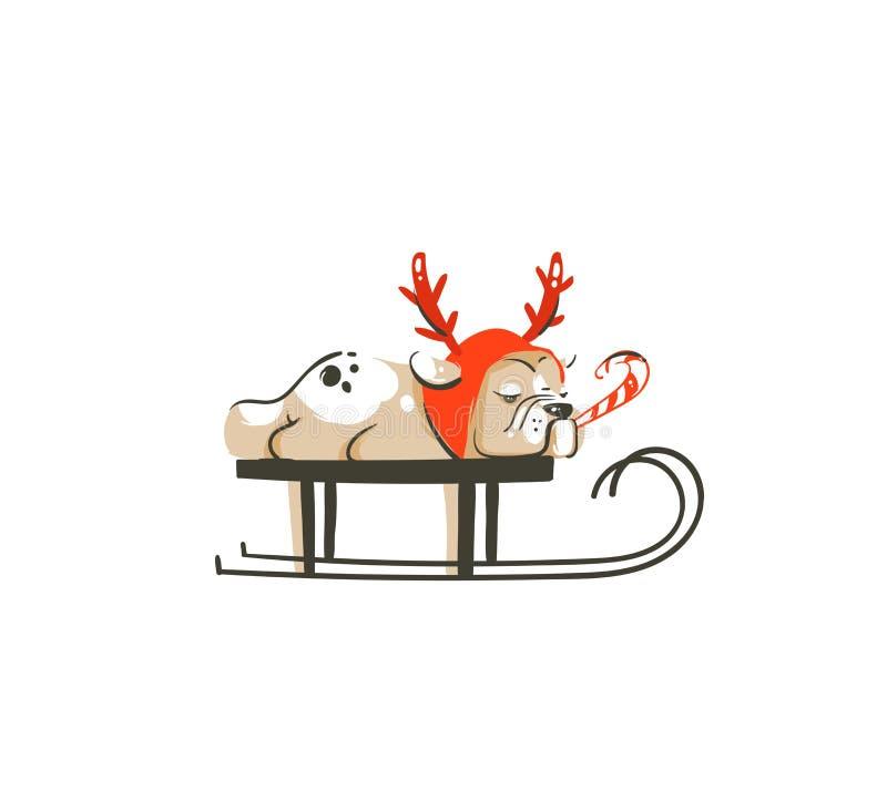 Hand getrokken vector abstract van het de tijdbeeldverhaal van pret Vrolijk Kerstmis de illustratiepictogram met Franse buldog in stock illustratie