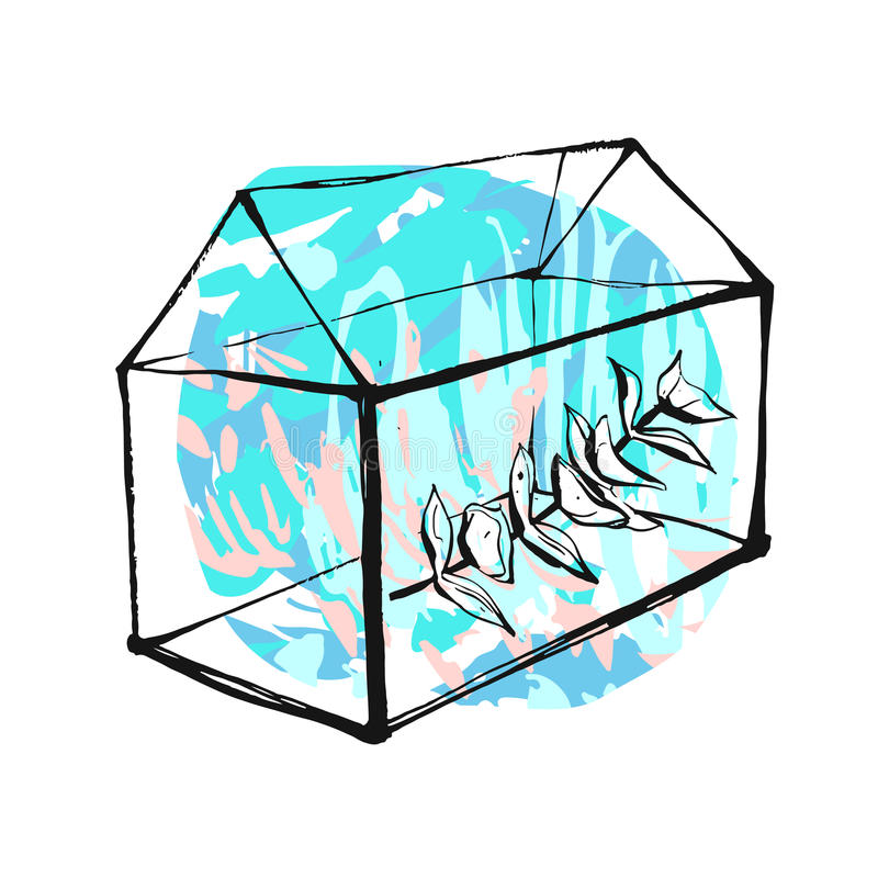 Hand getrokken vector abstracte collageillustratie met grafische terrarium of aquarium en eucalyptusbrunch in tiffany blauw stock illustratie