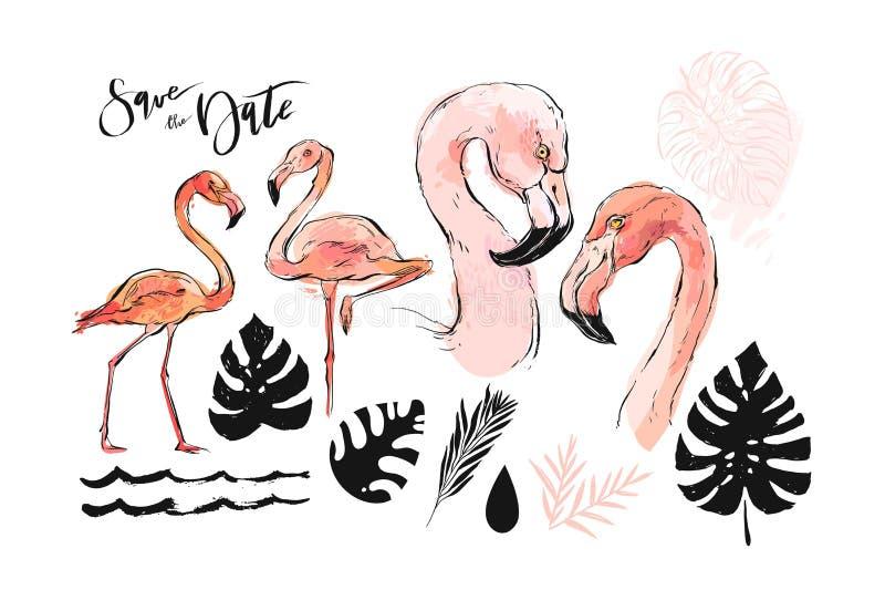 Hand getrokken vector abstracte grafische geweven schets roze flamingo uit de vrije hand en tropische palmbladen die illustratie  stock illustratie
