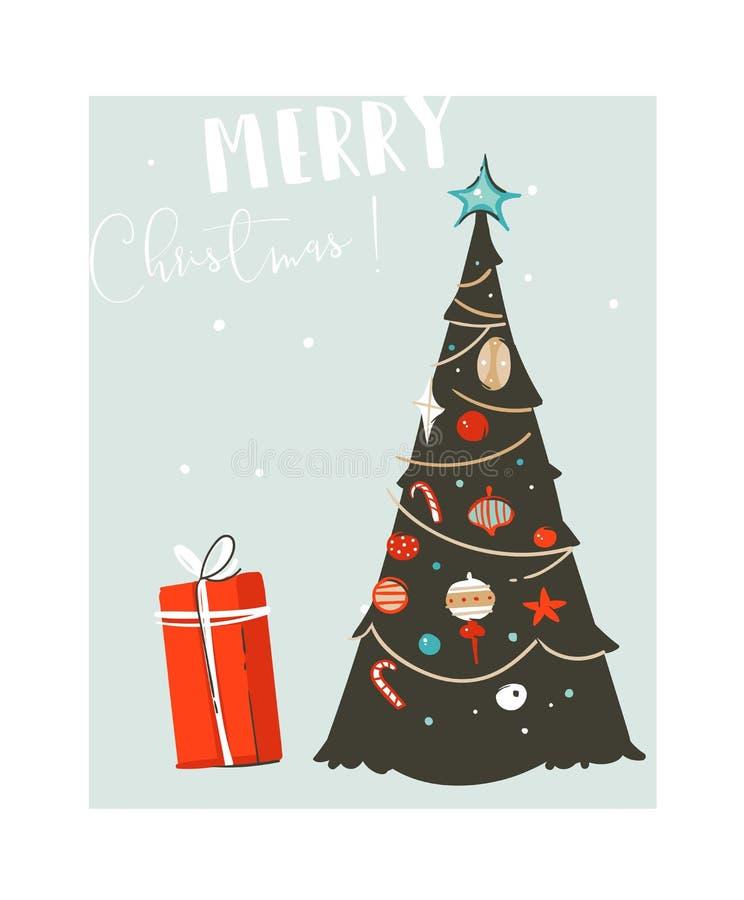 Hand getrokken vector abstracte van het de tijdbeeldverhaal van pret Vrolijke Kerstmis de illustratiekaart met Kerstmisboom en de vector illustratie