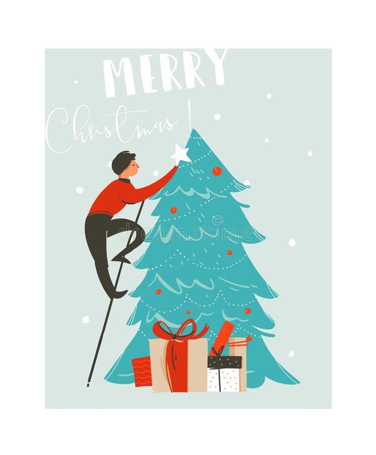 Hand getrokken vector abstracte van het de tijdbeeldverhaal van pret Vrolijke Kerstmis de illustratiekaart met vader die Kerstboo royalty-vrije illustratie