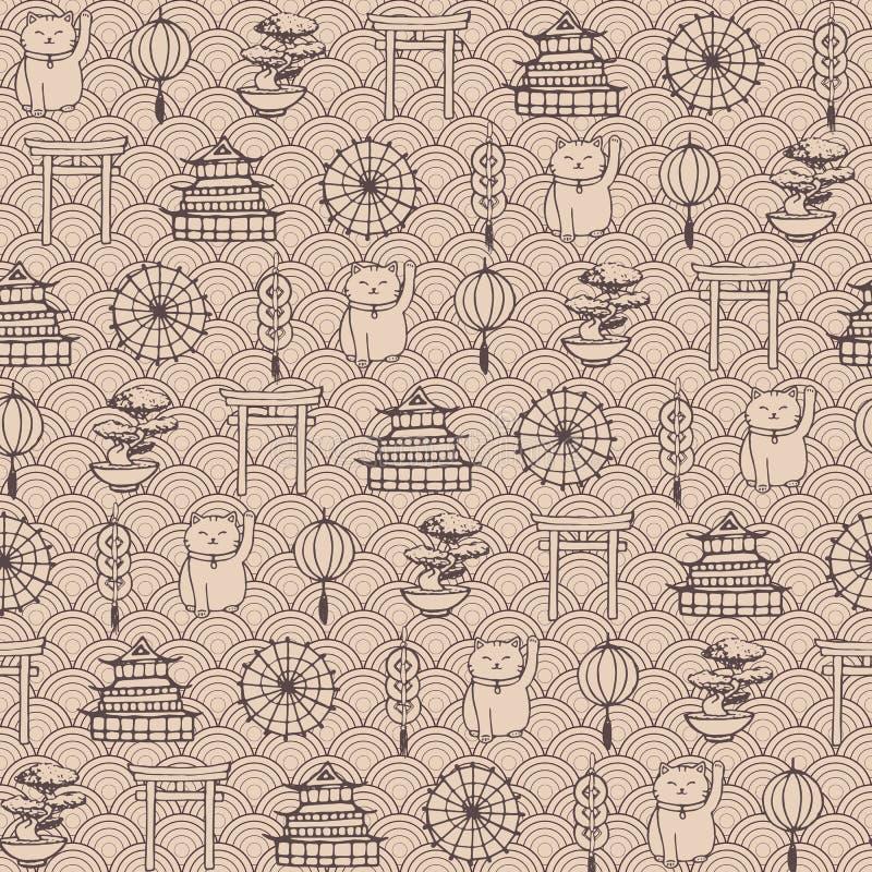 Hand getrokken vector Aziatisch naadloos patroon die oosterse elementen bruine contouren bevatten royalty-vrije illustratie