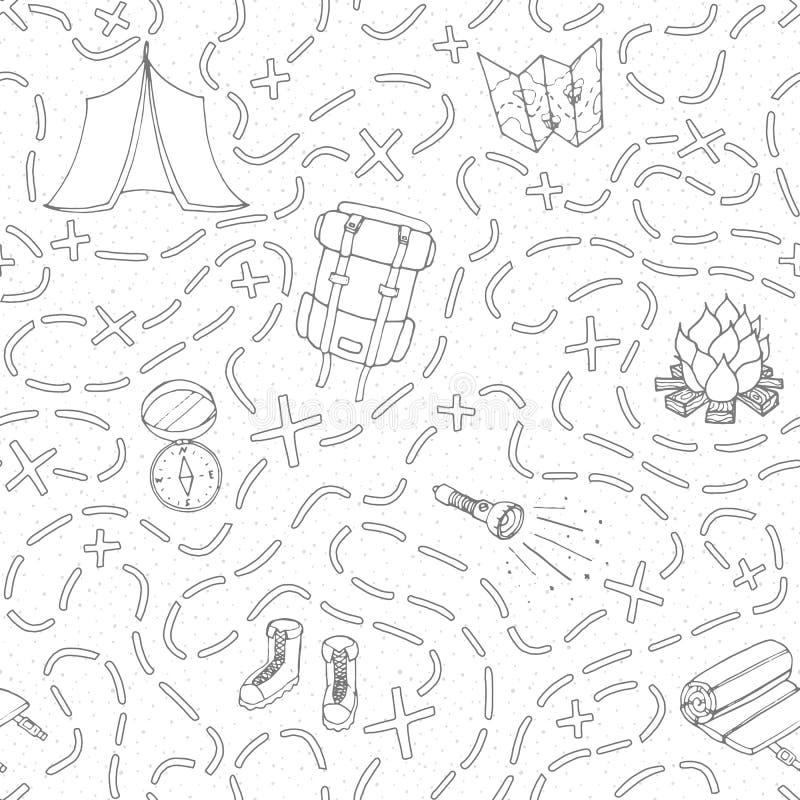 Hand getrokken vector het kamperen naadloos patroon met rugzak, vuur, schoenen, kaart, tent, slaapzak, flitslicht, kompas en weg stock illustratie