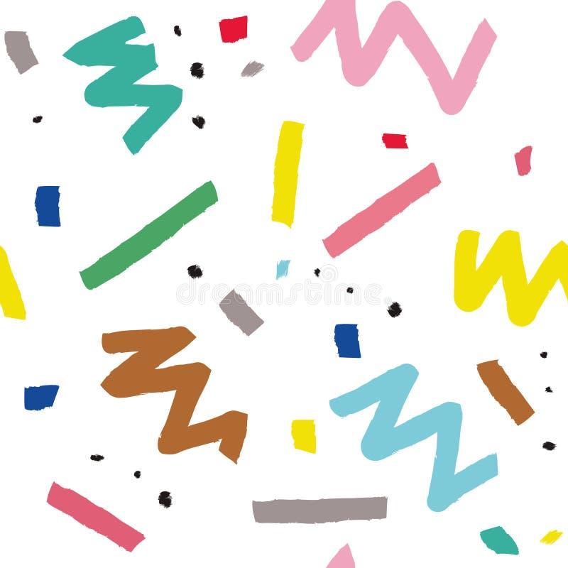 Hand getrokken vector naadloos patroon in de stijl van Memphis met kleurrijke strepen, zigzag en vlekken op witte achtergrond stock illustratie