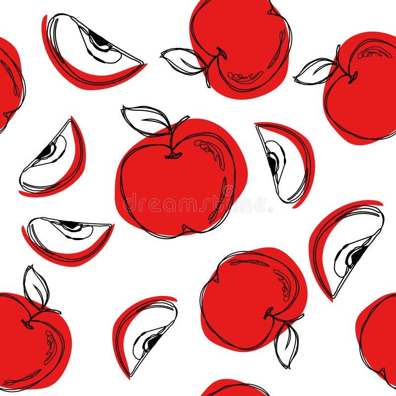 Hand getrokken vector naadloos patroon in krabbelstijl Ononderbroken lijntekening royalty-vrije illustratie