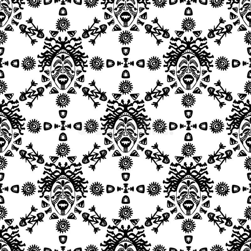 Hand getrokken vector naadloos patroon met Stammen etnisch masker Schets voor uw ontwerp, wallaper, textiel, druk afrikaans royalty-vrije illustratie