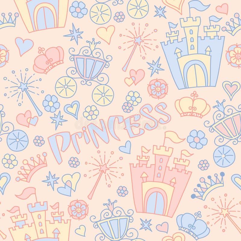 Hand getrokken vector naadloos prinsespatroon royalty-vrije illustratie