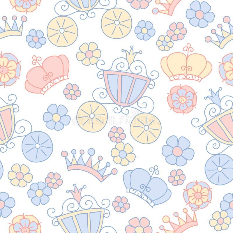 Hand getrokken vector naadloos prinsespatroon stock illustratie